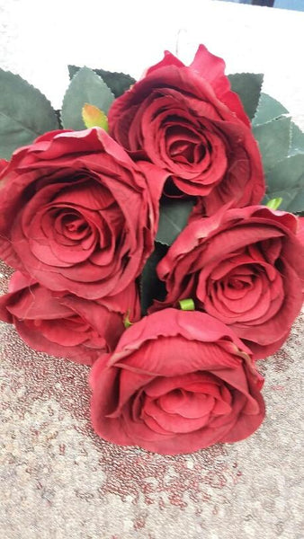 Jumbo Rose Artificial Flower Vintage Rustic style 7 heads(RED)-SWE1-4 - Richview Glass Wedding Supplies
