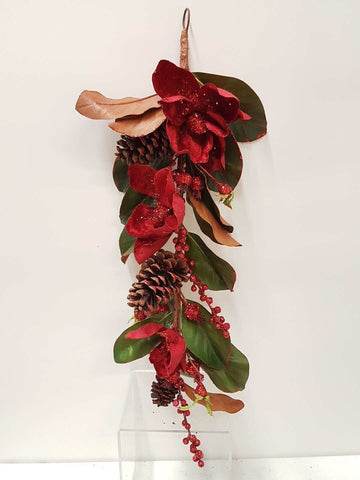 Artificial Flower Garland with Magnolia Red - Viva La Rosa