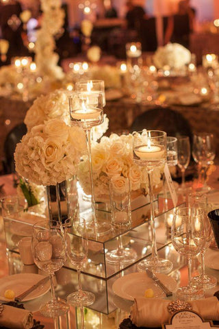 Mirror riser wedding centrepiece