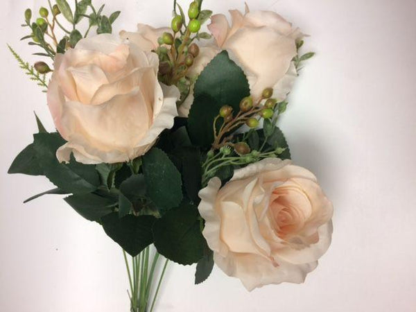 6 HEAD Dusty Blue RUSTIC ROSE BUNCH WITH CURLY END (WITH BERRIES) - Viva La Rosa