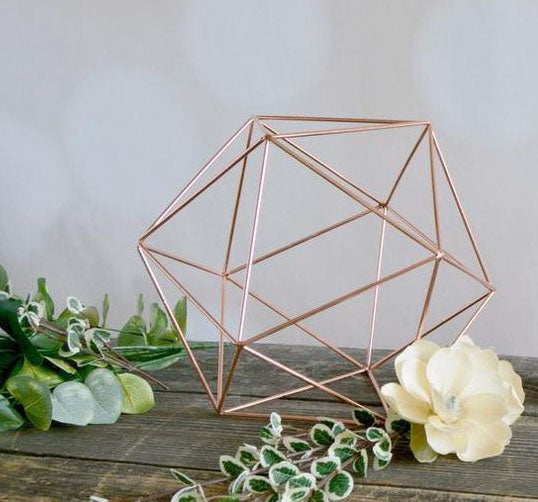 "Geometric 10"" Planter Terrarium ROSE GOLD Hexagon Ball No glass"