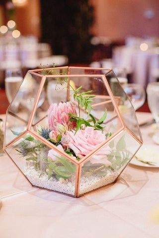 "Rose Gold Geometric 7"" Planter Glass Hexagon Ball Terrarium Vase"