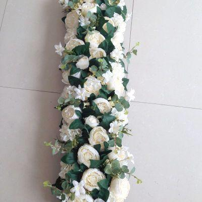 White Table Runner Artificial Flower Rose Hydrangea Arrangement