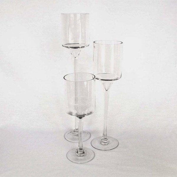 Thin stem candleholder monet set of 3 wedding centerpiece glass vases