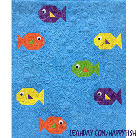 Happy Fish Quilt Pattern by Leah Day