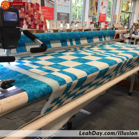 Quilting on a longarm frame