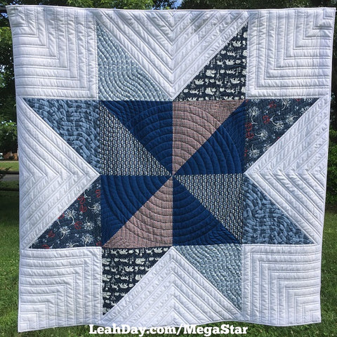 Mega Pinwheel Star Quilt Finished