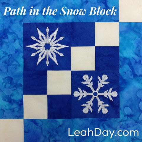 Path in the Snow Embroidered Quilt Block
