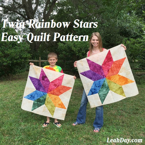 Free Quilt Pattern Twin Rainbow Star Quilt
