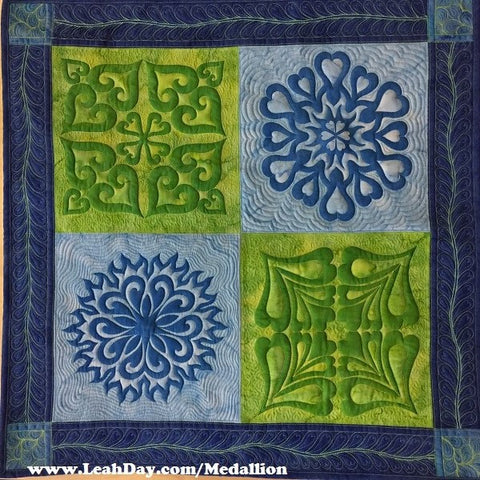 Batik heart medallion quilt