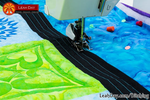 Stitching in the ditch walking foot quilting tutorial with Leah Day