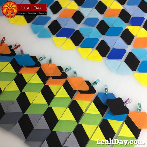 Tumbling Blocks Sunrise Quilt - Free Pattern by Leah Day