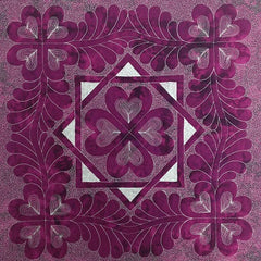 Heart and Feather Wholecloth Quilt