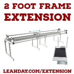 Expand your Continuum Frame with this 2-foot frame extension. Go from 8 feet to 10 feet or 10 feet to 12 feet and maximize the size of quilts you can make on your Continuum Frame.