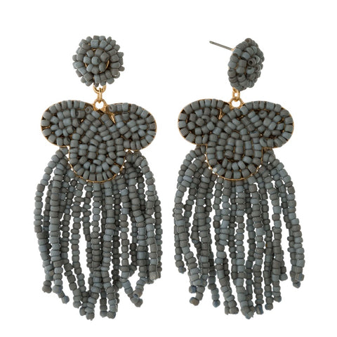 Beaded Gray Earrings