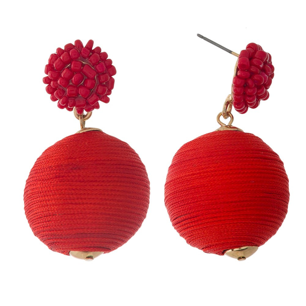 Red Pom Earrings