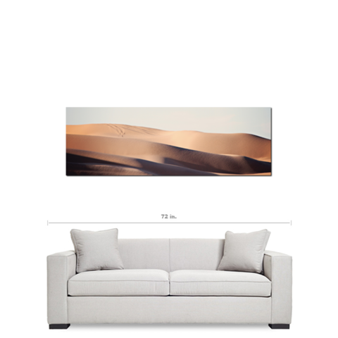 Tan and Blue Decor - Southwest Desert Art - Mojave Desert Art - Sand Wave - Abstract Sand Dunes -Panoramic Canvas - Large Canvas - 20 x 60 Canvas