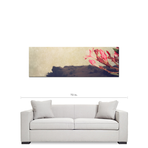 Pink Flower Canvas - Landscape Canvas - Cottage Chic Decor - Pink Brown - Panoramic Canvas - Large Canvas - Floral Photo - 20 x 60 Canvas - Sylvia Coomes