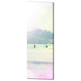 Coastline View - Surfer Art - Surfing - PalmTree - Pastel Color - Rainbow Colors - Tall Canvas - Large Canvas - 20 x 60 Canvas - Sylvia Coomes