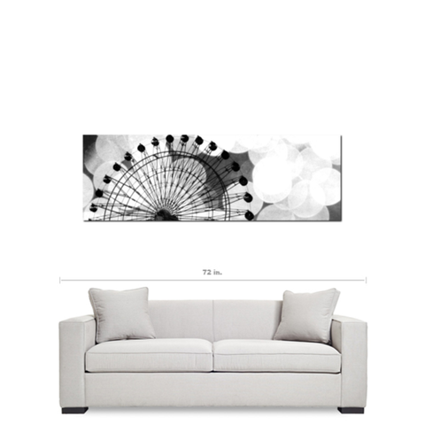 Black and White Ferris Wheel Fine Art Photography Panoramic 20 x 60 x 1.25 inch Premium Canvas Gallery Wrap - Sylvia Coomes