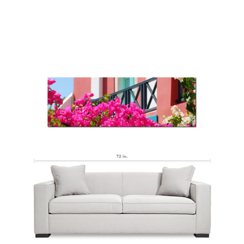 Lovely Santorini Fine Art Photography Panoramic 20 x 60 x 1.25 inch Premium Canvas Gallery Wrap
