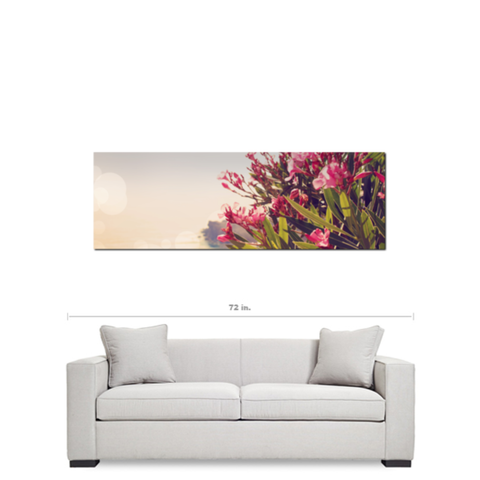Greek Landscape - Pink Flower - Feminine Decor - Floral Wall Art - Panoramic Canvas - Green and Hazy - Large Canvas - 20 x 60 Canvas - Sylvia Coomes