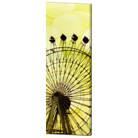Lemon Yellow Ferris Wheel Fine Art Photography 20 x 60 x 1.25 inch Premium Canvas Gallery Wrap
