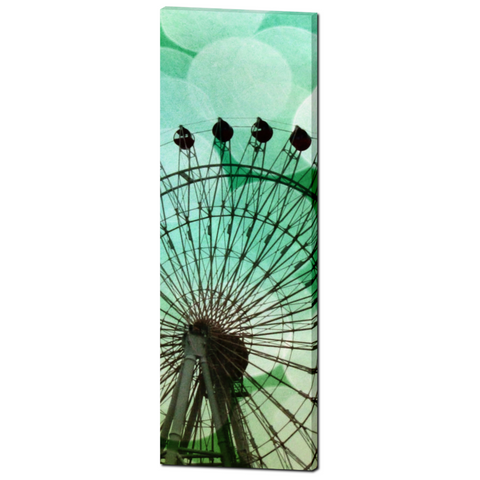 Green Blue Ferris Wheel Fine Art Photography 20 x 60 x 1.25 inch Premium Canvas Gallery Wrap - Sylvia Coomes