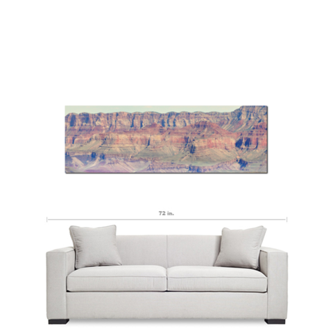 Grand Canyon Canvas - Scenic Art - Rustic Wall Art - Nature Photor - Panoramic Canvas - Red Brown and Green - Large Canvas - 20 x 60 Canvas - Sylvia Coomes