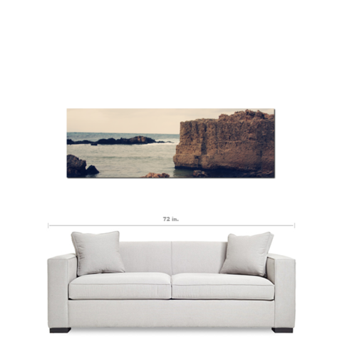 Mediterranean View - Panoramic Canvas - Stone Cliffs - Sea View - Clear Hazy - Greek Landscape - Home Decor - Large Canvas - 20 x 60 Canvas - Sylvia Coomes