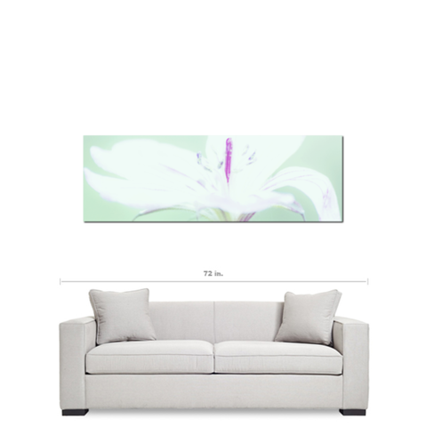 Abstract Canvas - White Flower - Mint and Purple - Teen Decor - Photo Canvas - Modern Canvas - Large canvas - 20 x 60 Canvas