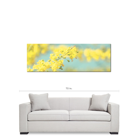 Large Nursery Canvas - Blue Yellow Canvas - Yellow Flower Art - Panoramic Canvas - Large Canvas - Cottage Chic Decor - 20 x 60 Canvas - Sylvia Coomes