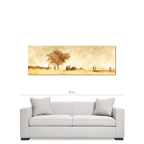 Rustic Man Cave - Panoramic Canvas - Rural Landspace - Man Cave Art - 20 x 60 Canvas - Large Canvas - Tan Man Decor - Nature Wall Art - Sylvia Coomes