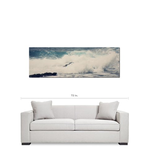 Ocean Blue 20 x 60 x 1.25 Landscape Panoramic View Premium Canvas Gallery Wrap - Sylvia Coomes