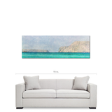Man Cave Decor - Minimalist Canvas - Nautical Art - 20 x 60 Canvas - Panoramic - Aqua Blue Canvas - Blue and Tan Canvas - Mediterranean Sea