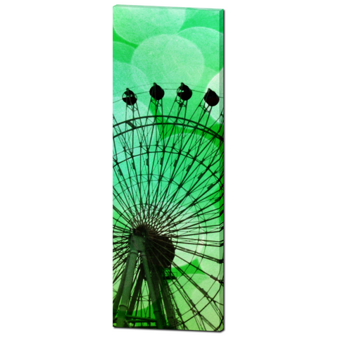 Green Ferris Wheel Fine Art Photography 20 x 60 x 1.25 inch Premium Canvas Gallery Wrap - Sylvia Coomes