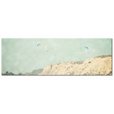 Paragliding - Coastal Cliffs - Extreme Sports Art - California Canvas - Beach Canvas - Large Canvas - Blue Tan Decor - 20 x 60 Canvas - Sylvia Coomes