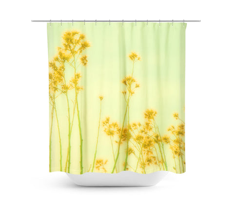 Abstract Yellow Flowers Shower Curtain - Sylvia Coomes
