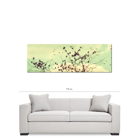 Bird Canvas - Home Decor - Vintage Style - Modern Canvas - Large Canvas - Mint Green Sky- 20 x 60 Canvas - Pastel Wall Art - Flock of Birds - Sylvia Coomes