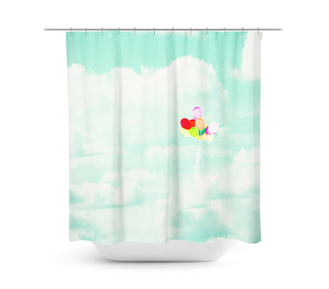 Balloons in Mint Sky Shower Curtain - Sylvia Coomes