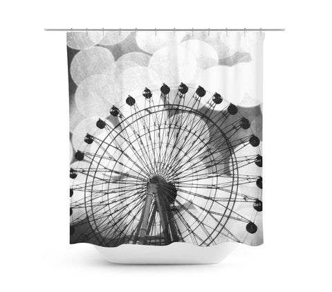 Black and White Ferris Wheel Shower Curtain