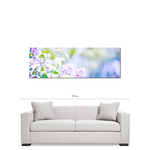 Hazy Purple Flowers Fine Art Photography Panoramic 20 x 60 x 1.25 inch Premium Canvas Gallery Wrap