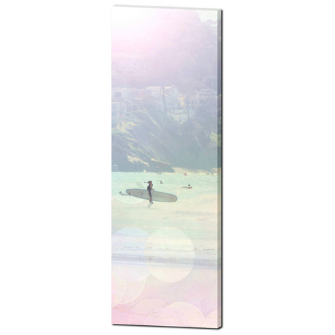 Aqua Blue Pink Print - Tall Canvas - Ocean Photo - Surfing Canvas - Large Ocean Photo - Ethereal Photograph - Large Canvas - 20 x 60 Canvas