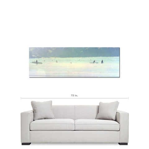 Surfing Canvas - Large Ocean Photo - Ethereal Photograph - Panoramic Canvas - Pastel Art - Rainbow Colors - Large Canvas - 20 x 60 Canvas - Sylvia Coomes