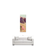 Pink Flower Art - Greek Landscape - Green and Brown - Feminine Decor - Floral Wall Art - Tall Canvas - Large Canvas - 20 x 60 Canvas - Sylvia Coomes