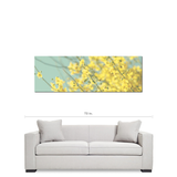 Large Flower Canvas - Blue Yellow Canvas - Abstract Yellow Flower - Panoramic Canvas - Large Canvas - Cottage Chic Decor - 20 x 60 Canvas - Sylvia Coomes