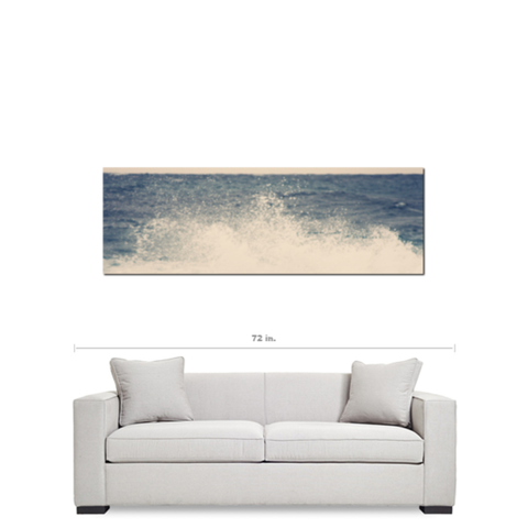 Large Ocean Canvas - Blue and White Canvas - Crashing Waves Canvas - 20 x 60 Canvas - Panoramic Canvas - Nautical Canvas - Photo Canvas