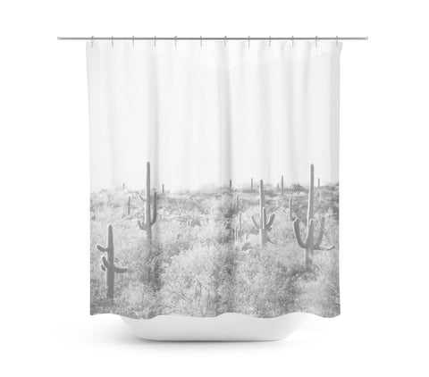 Desert Landscape 5 Black and White Shower Curtain - Sylvia Coomes