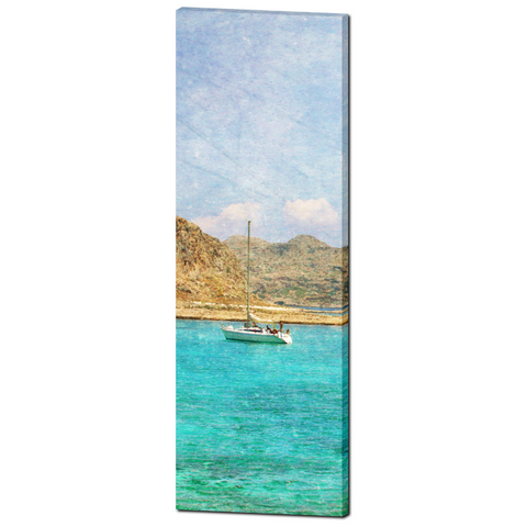 Man Cave Decor - Nautical Canvas - Boat Canvas - 20 x 60 Canvas - Mediterranean Sea - Tall Canvas - Aqua Blue and brown - Photo Canvas - Sylvia Coomes