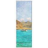 Man Cave Decor - Nautical Canvas - Boat Canvas - 20 x 60 Canvas - Mediterranean Sea - Tall Canvas - Aqua Blue and brown - Photo Canvas